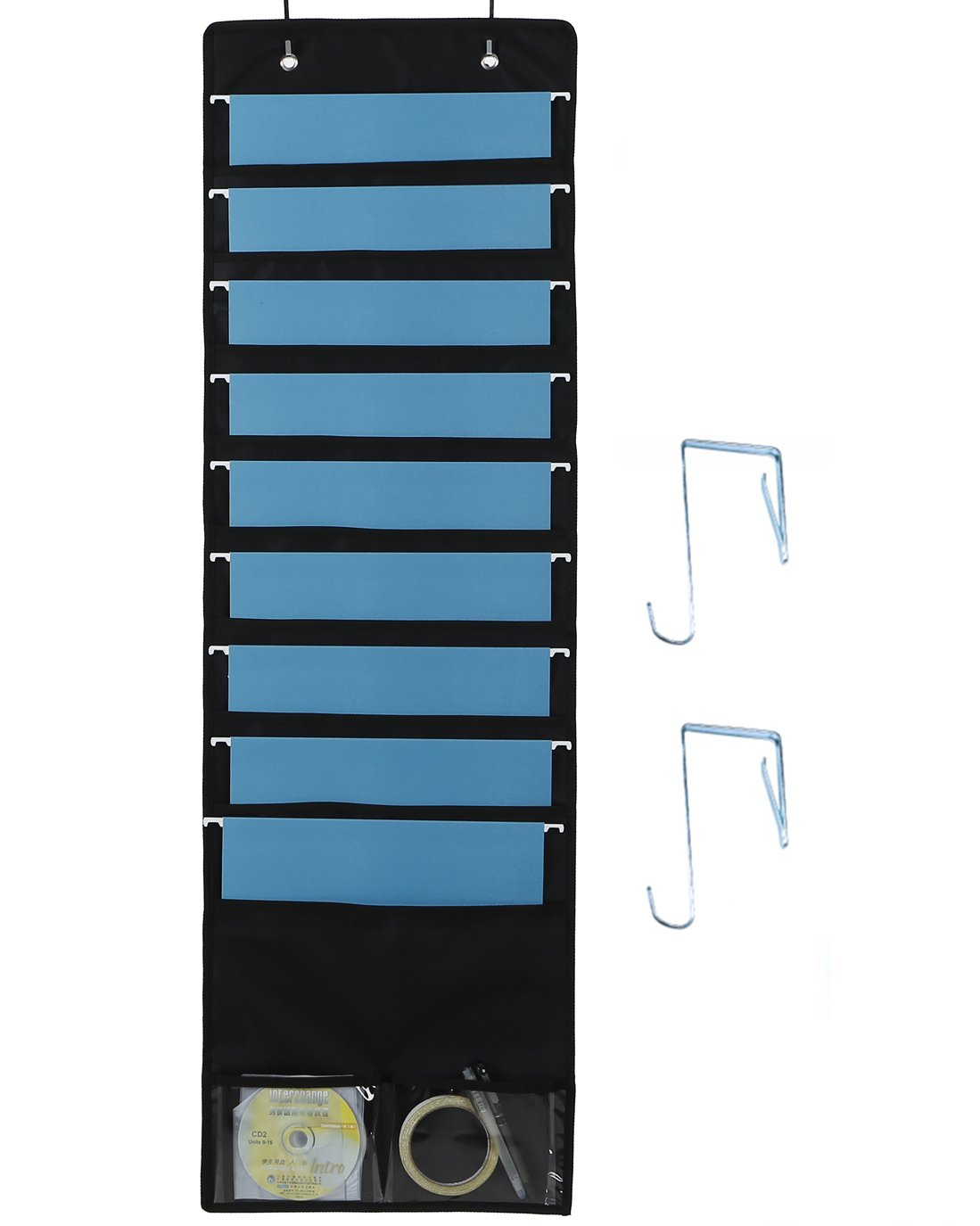 600D Oxford Hanging File/Folder Organizer, 9 Large Pockets + 2 Small Pockets + 2 Hangers - Perfect for Home, School Chart Organization, Office Bill Filing, Mail sorting, Wall or Over Door Mount(Black)