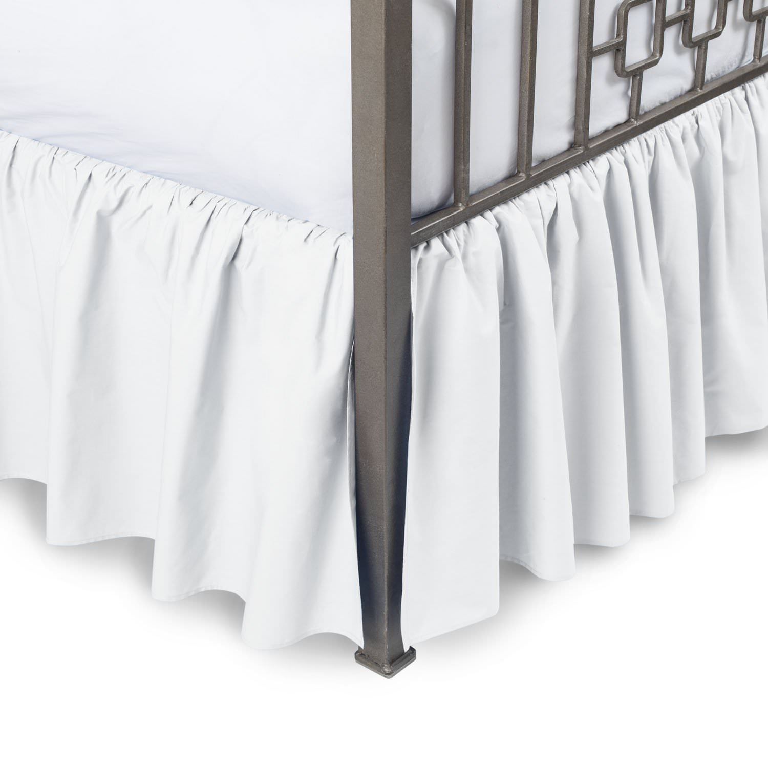 Hotel Quality 650TC Single Ply Egyptian cotton Twin XL Size 1pc Split Corner Dust Ruffle Bed Skirt With 16 Inch Drop Length, White Solid