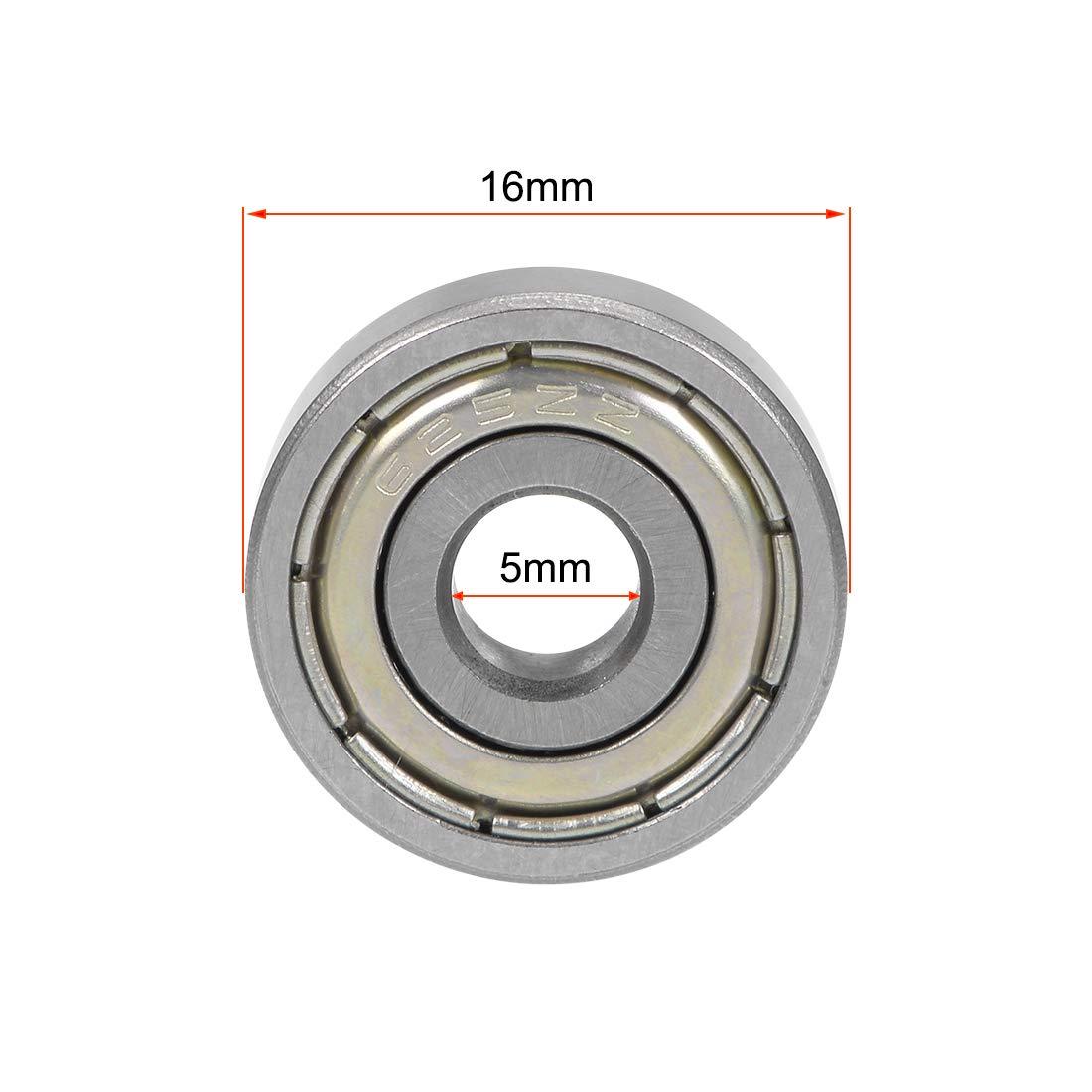 sourcing map 695Z Dual Metal Shields Deep Groove Ball Bearing 5mmx13mmx4mm 10 Pcs