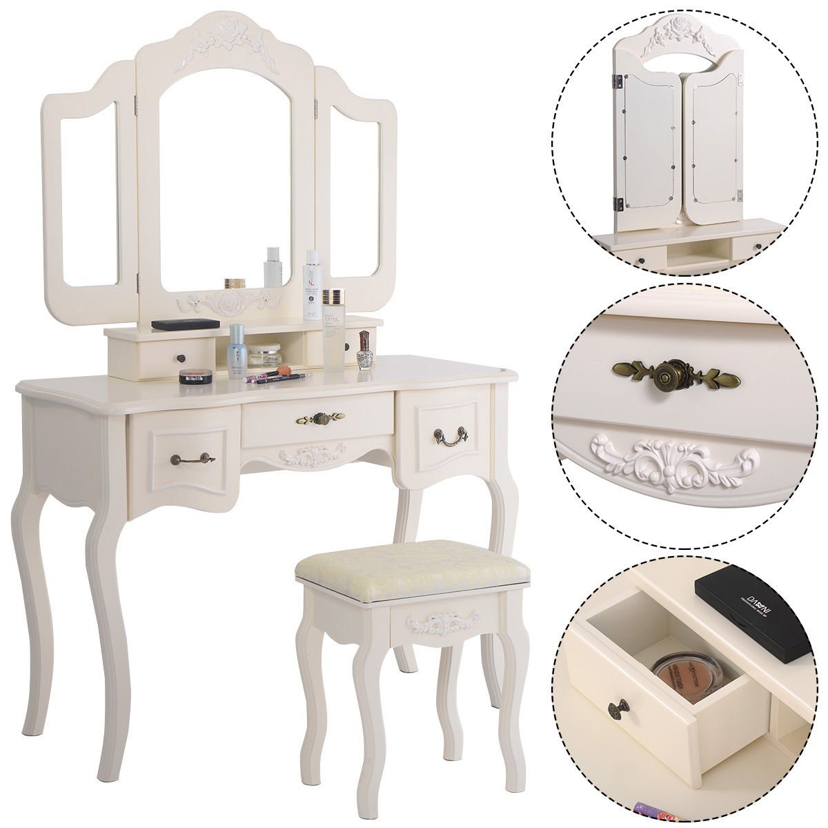 Polar Aurora Set 5 Tri Folding Vintage White Vanity Makeup Dressing Table Drawers &stool