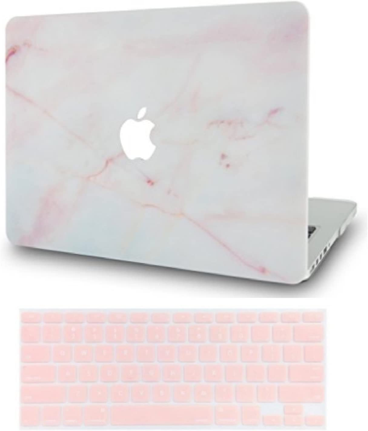 LuvCase 2 in 1 Laptop Case for MacBook Pro 15 Touch Bar (2019/2018/2017/2016) A1990/A1707 Rubberized Plastic Hard Shell Cover & Keyboard Cover (Pink Marble)