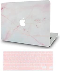"LuvCase 2 in 1 Laptop Case for MacBook Air 11"" A1465 / A1370 Rubberized Plastic Hard Shell Cover & Keyboard Cover (Pink Marble)"