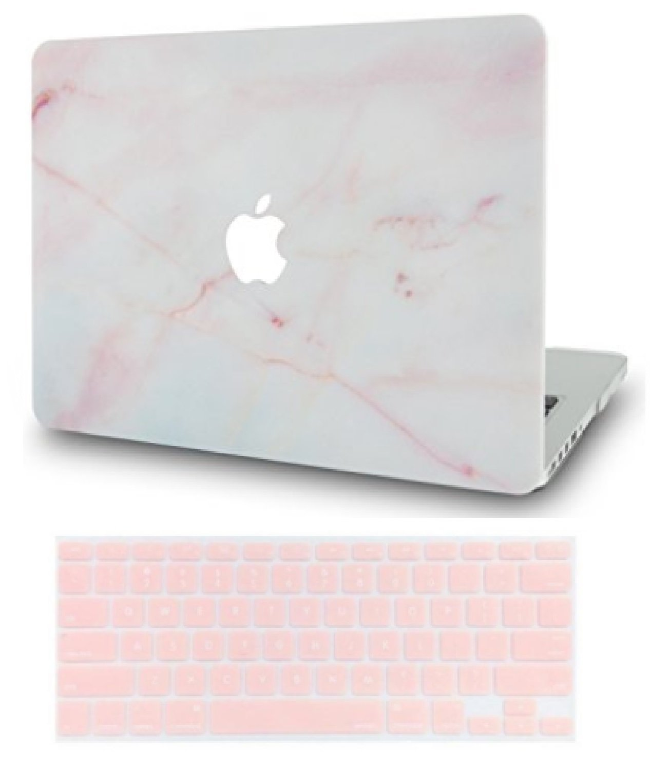 LuvCase Rubberized Plastic Hard Shell Case Cover Keyboard Cover Compatible MacBook Air 13 inch A1466 & A1369 (Pink Marble)
