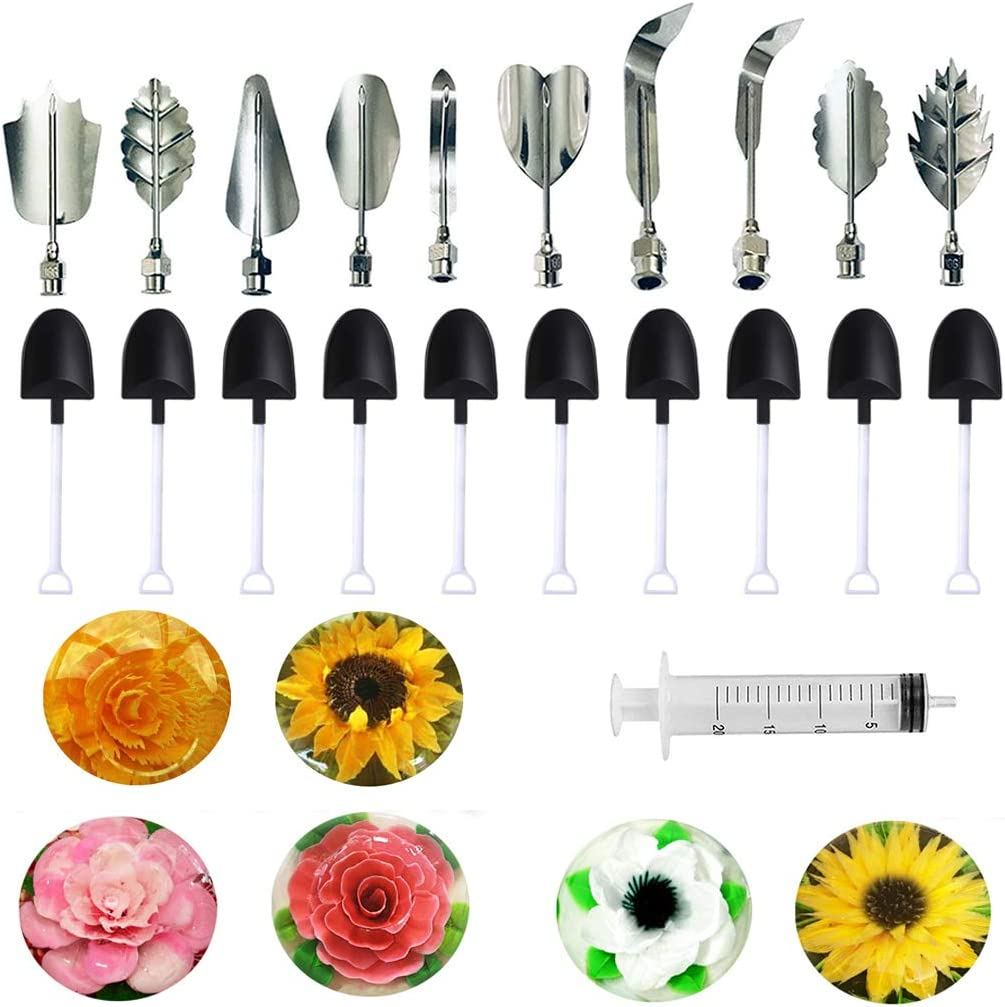 DIY Stainless Steel Flowers Leaves 3D Jelly-Art-Tools Pudding-Nozzle Cake Needles Gelatin Tools