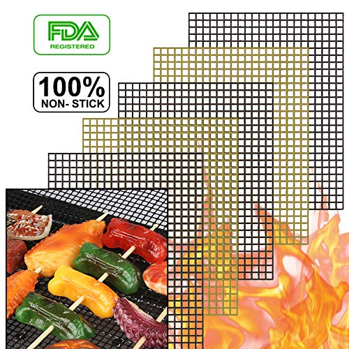 accmor BBQ Grill Mesh Mat Set of 5, Non-Stick Teflon Cooking Grilling Sheet Liner Fish Vegetable Smoker Grill Mats - Works on Gas, Charcoal, Electric Barbecue 15.75x13inch(3 Black+2 Copper)