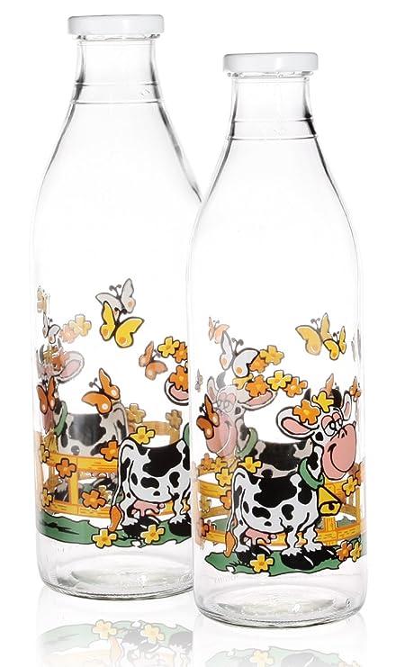 2/2 x botella de cristal de leche Juice juego de agua para frigorífico