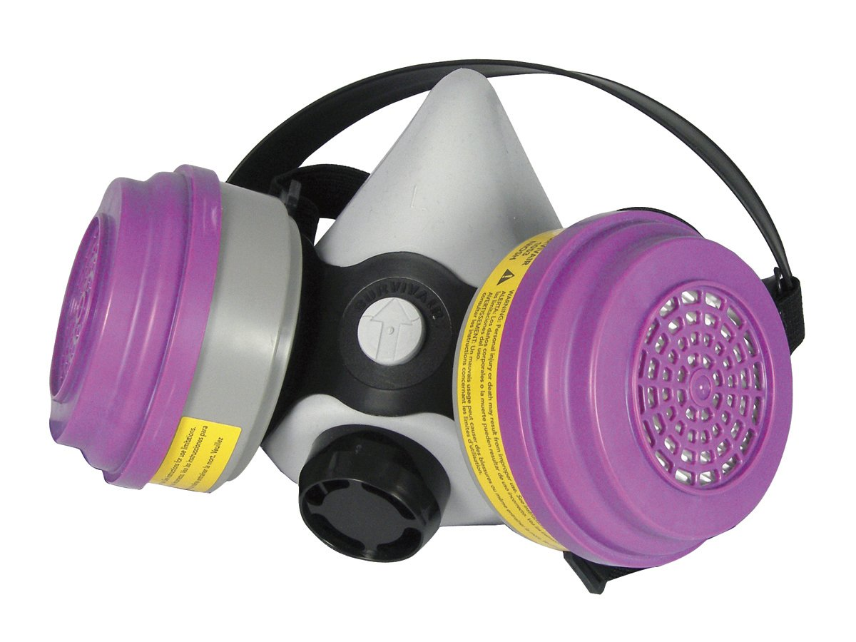 SAS Safety 3653-50 Pro Multi-Use Halfmask Respirator with Clamshell, Organic Vapor/Acid Gases Cartridges and P100 Filter, Medium