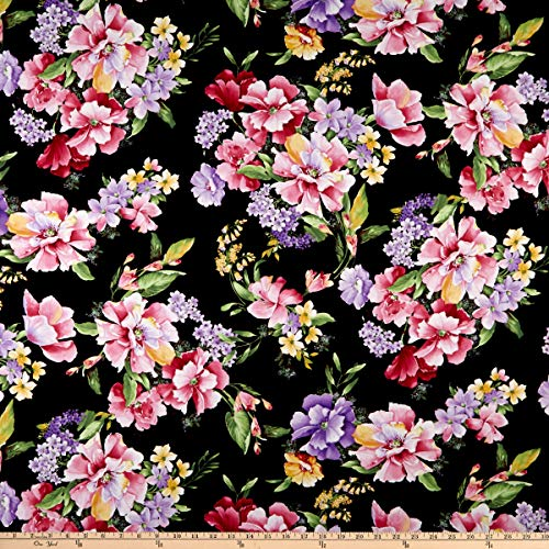 (Timeless Treasures Isabelle Wild Rose Fabric, Black, Fabric By The)