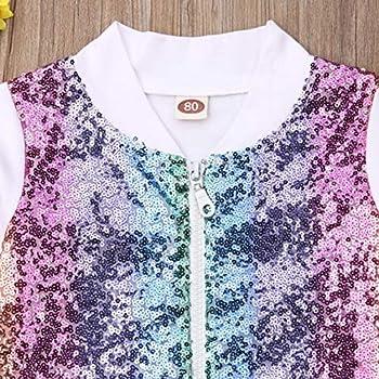rechange Toddler Kid Baby Girl Long Sleeve Front Zip Sequin Bomber Jacket Outwear Coat