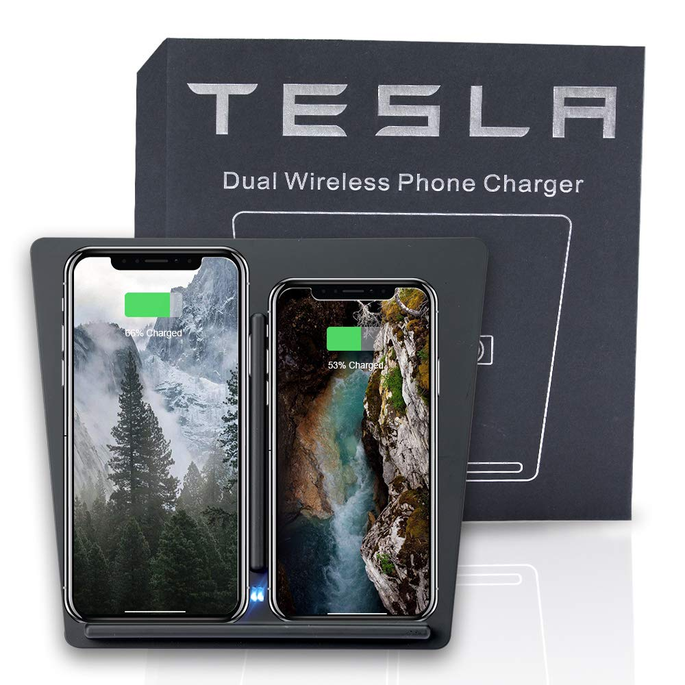 ROCCS Tesla Wireless Phone Charger Pad Center Dual USB Charging for Tesla Model 3 P50 P65 P80 P80D 2017 2018 2019