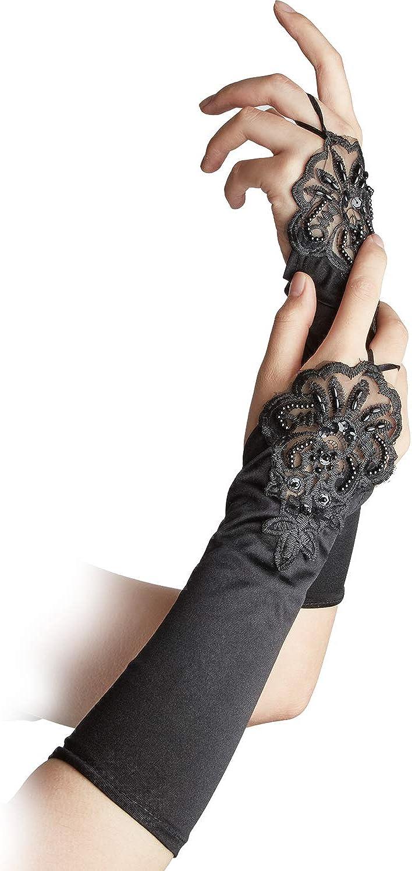 SATINIOR 3 Paare Fingerlos Spitzen Handschuhe Ellbogen Spitze Handschuh Schwarz Spitzen Satin Handschuhe Schwarze Kurze Braut Handschuhe