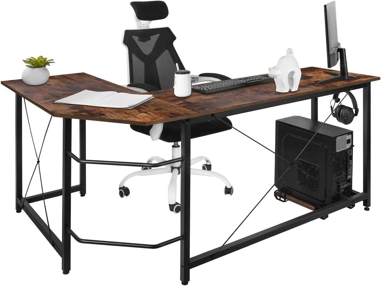 Gaming Computer Corner Desk Pc Studio Table Workstation for Home Office,150cm W H *60cm Dawoo L Shaped Desk L Rustic Brown *75cm