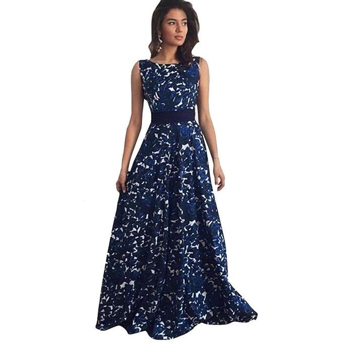 Vestido Amlaiworld Mujeres Floral largo formal vestido de fiesta vestido de noche (S, Azul