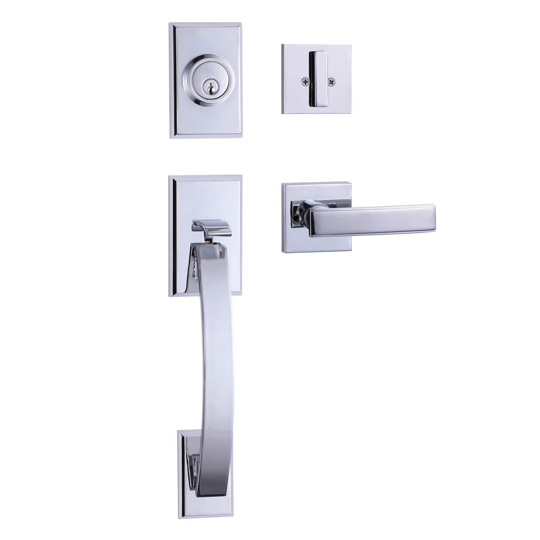 Promotion!!!TOGU HS27D Heavy Duty Single Cylinder Handleset with Wave Style Lever Door Handle,Solid Entry Door Lockset Leverset for Home Exterior Doors,Easy Installation,Satin Nickel