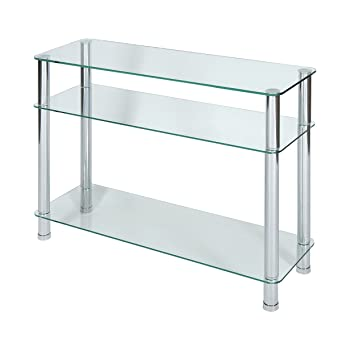 Levv Glass Console Table With Chrome Legs, Clear