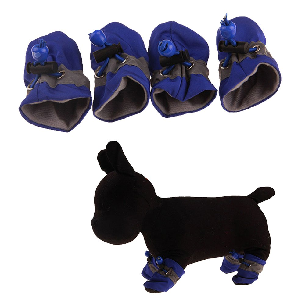 UEETEK 4 Pcs Waterproof Anti Slip Dog Boots All Seasons Pet Booties For Small to Medium Dogs Size XS Blue