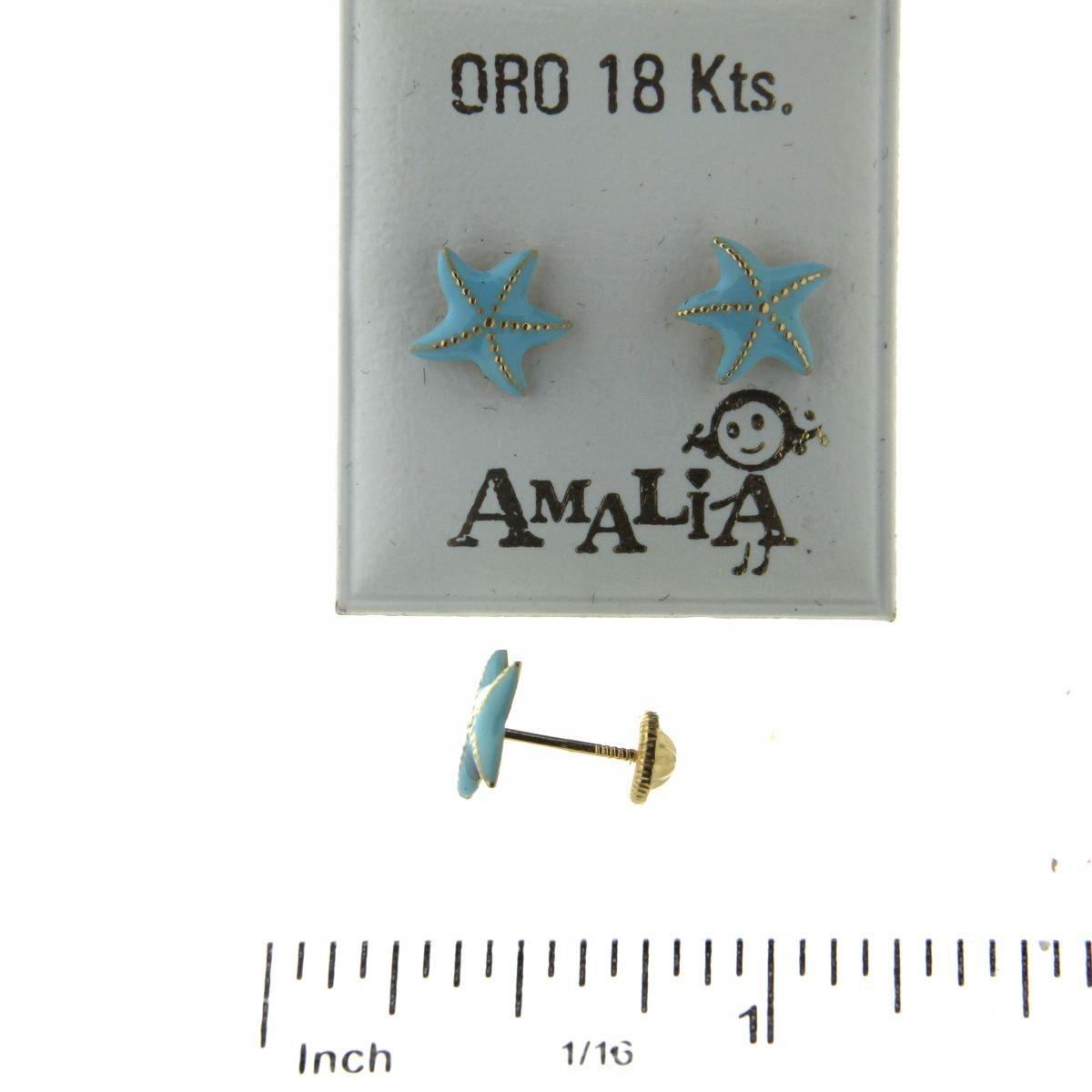 7mm 18 Kt Pastel Blue enamel Starfish Screwback Earring