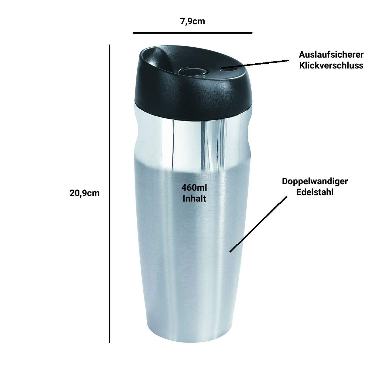 Kaffeebecher To Go Für Unterwegs Aus Edelstahl 380ml  Doppelwandige 100/% Isolier
