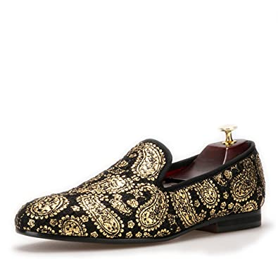 Gold Cashew Flowers Prints Men's Velvet Loafer Shoes Slip-On Loafer Round Toes Smoking Slipper