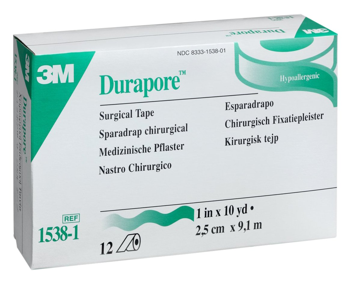 3M Health Care 1538-1 Durapore Surgical Tape, Standard Roll, Silk-Like, 10 yd. L x 1'' W (Pack of 120)