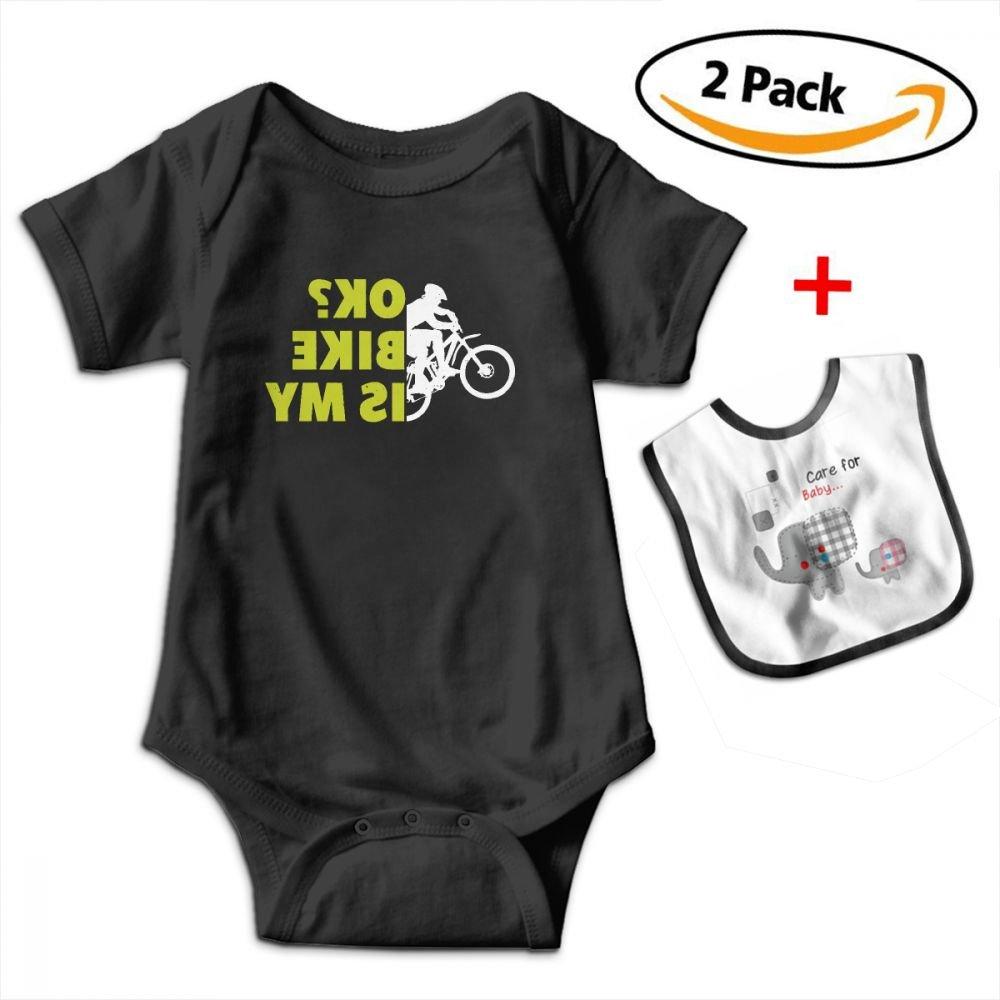 KAYERDELLE is My Bike Okay Babys Boy's & Girl's Short Sleeve Bodysuit Baby Onesie for 3-24 Months and Baby Bib