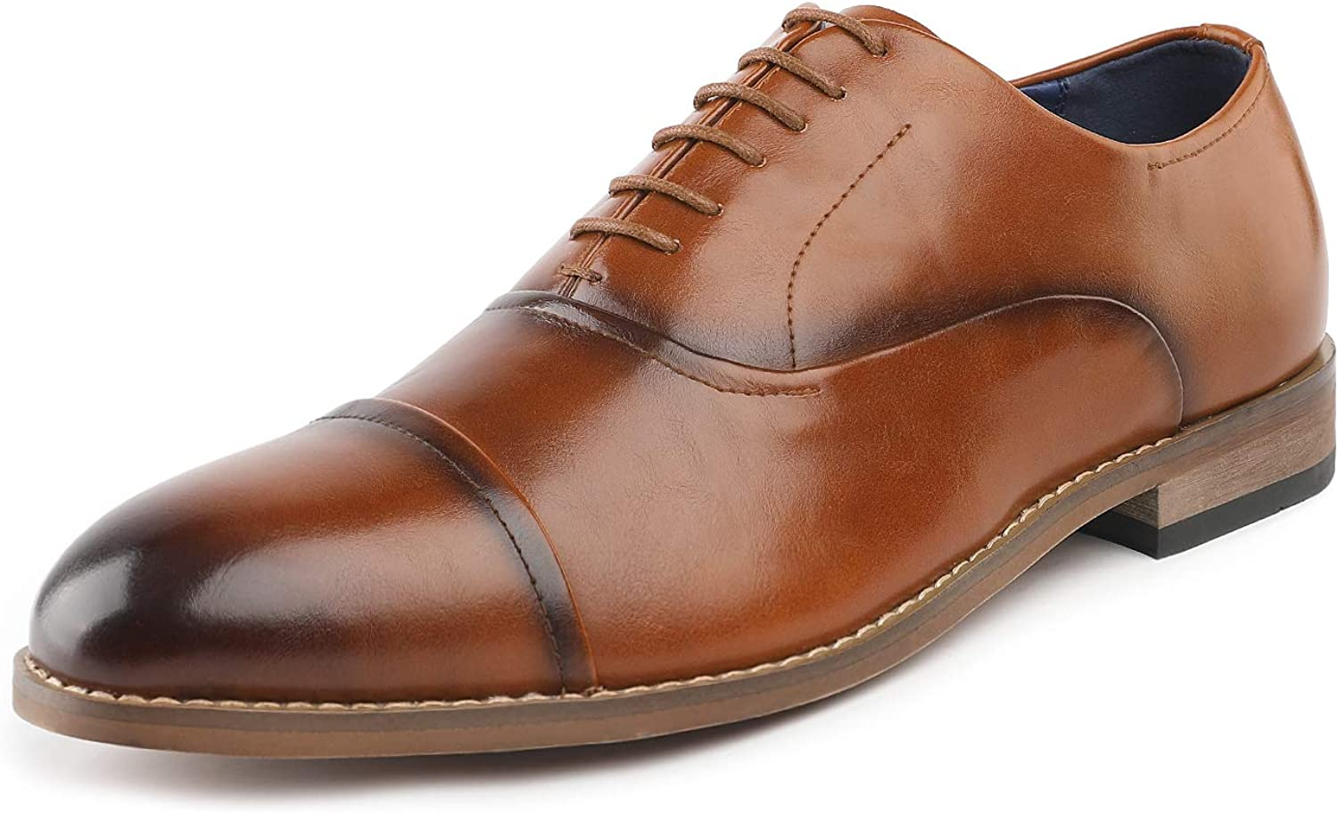 Bruno Marc Mens Formal Dress Shoes Leather Lined Plain Toe Lace Up Oxfords Shoes