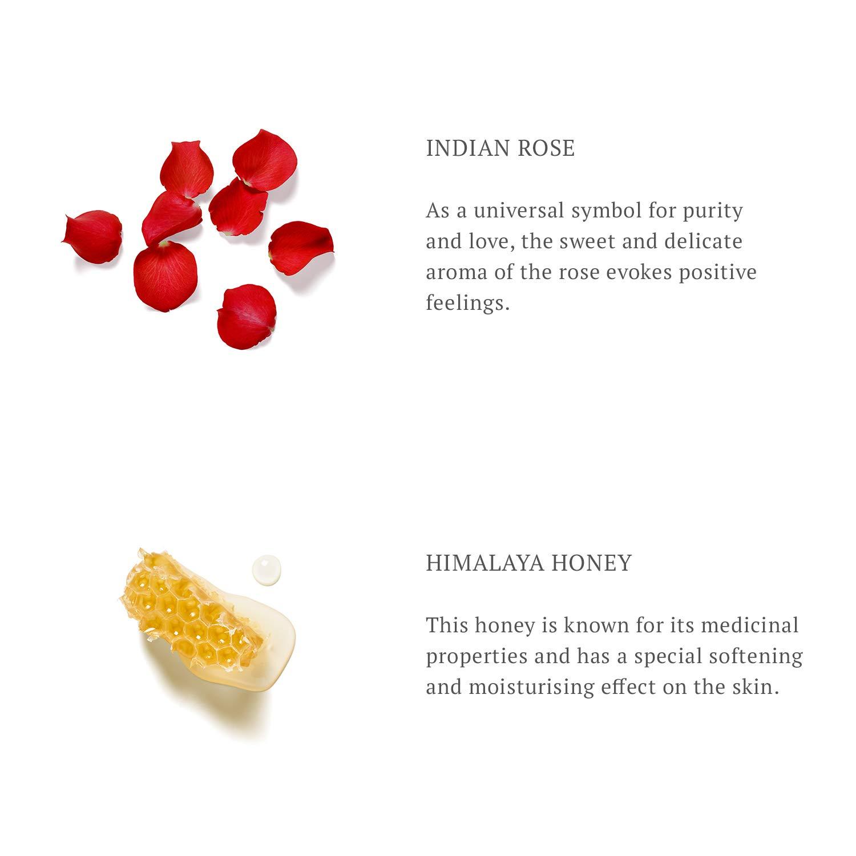 Rosa India Como símbolo universal de la pureza y el amor, el dulce y delicado aroma de la rosa evoca sentimientos positivos.