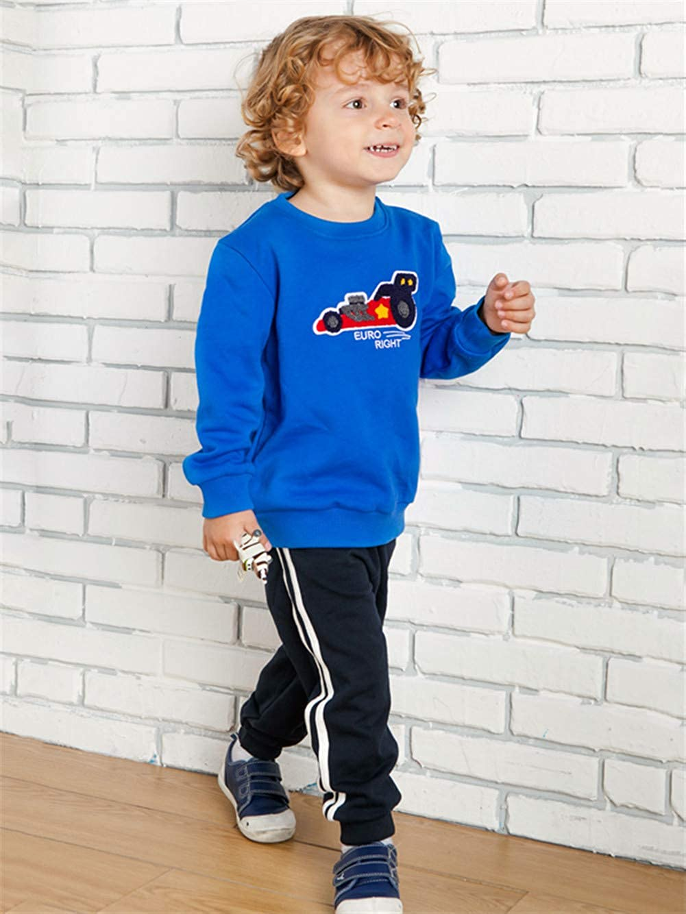 UWESPRING Boys Cotton Outfits Cute Cartoon Printing