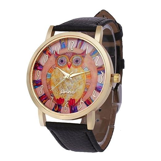 bestware búho relojes correa de cuero relojes cuarzo reloj analógico cuarzo Vogue reloj mujer muñeca Relojes: Amazon.es: Relojes