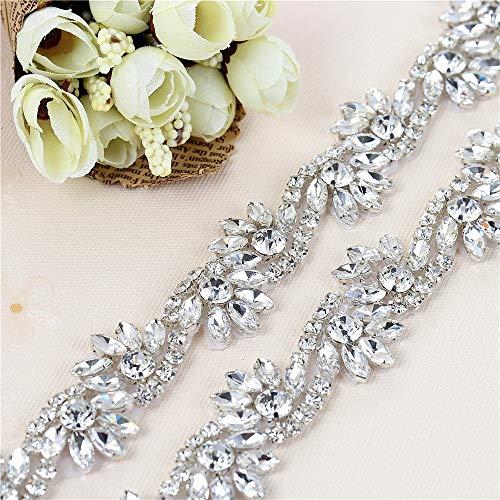 - Fashion Handmade Sewing Crystal Rhinestone Applique for Wedding Belts or Headpiece Bridal Garters-Sliver-1Yard (36