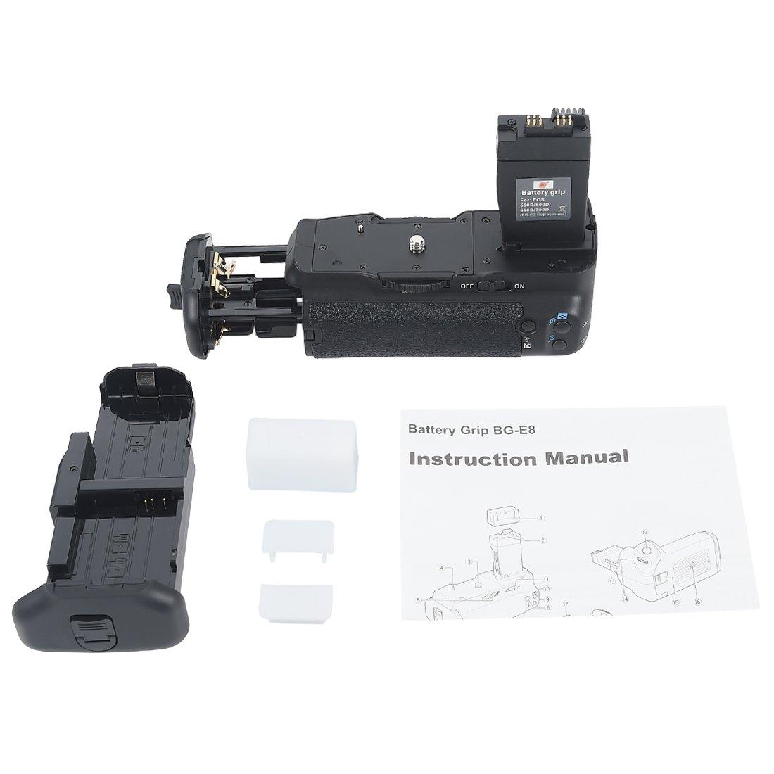 Pack de bater/ías para empu/ñadura de c/ámaras Canon EOS 550D y 600D DSTE BG-E8