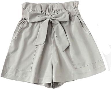 Cinnamou Pantalones Cortos En Elegantes Mujer Bolsillos Pantalones Cortos Casuales De Bow Solid Color Shorts Para Nina Mujeres Cintura Alta Gris L Amazon Es Ropa Y Accesorios