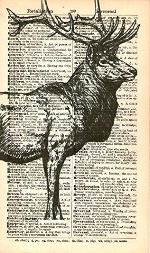 Rustic Victorian Lodge Arts (STAG DEER ELK ART PRINT - Animal Illustration - Black & White Print - Art Print - Vintage Dictionary Art Print - Victorian Art - Vintage Dictionary Art Print - Wall Art - Book Print - Home Décor 71A)