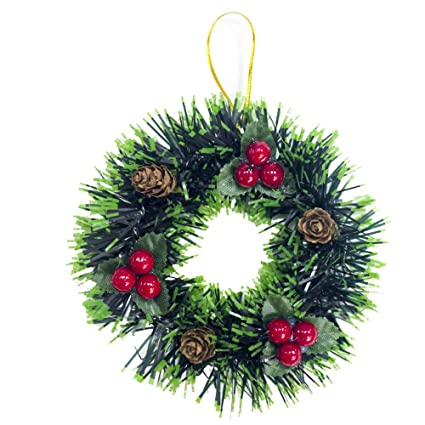 Jeeke Christmas Tree Ornament Small Christmas Wreath Xmas Tree Hanging  Christmas Pendant Ornaments Decorations (Color