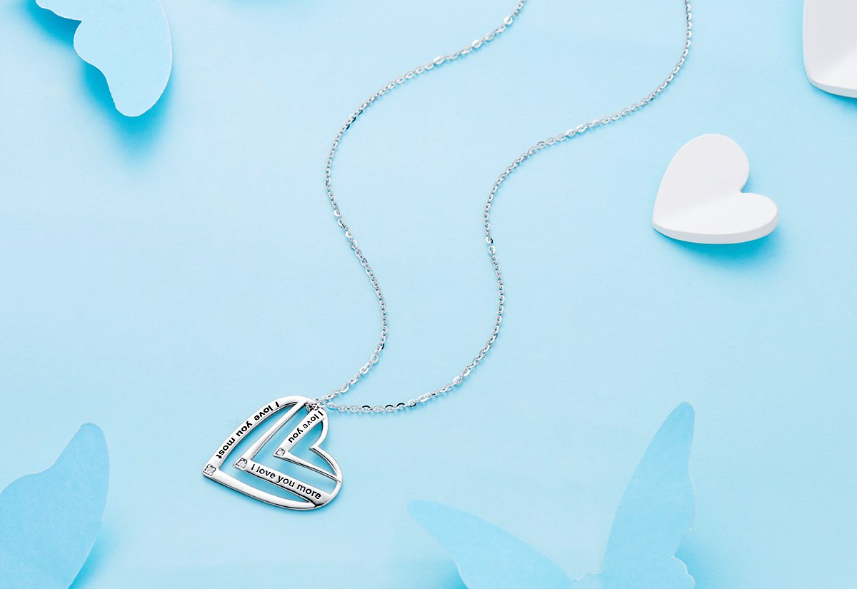 Victoria Jewelry ''I Love You,I Love You More,I Love You Most Engraved Pendant - 925 Sterling Silver Heart Necklace for Women by Victoria Jewelry (Image #3)