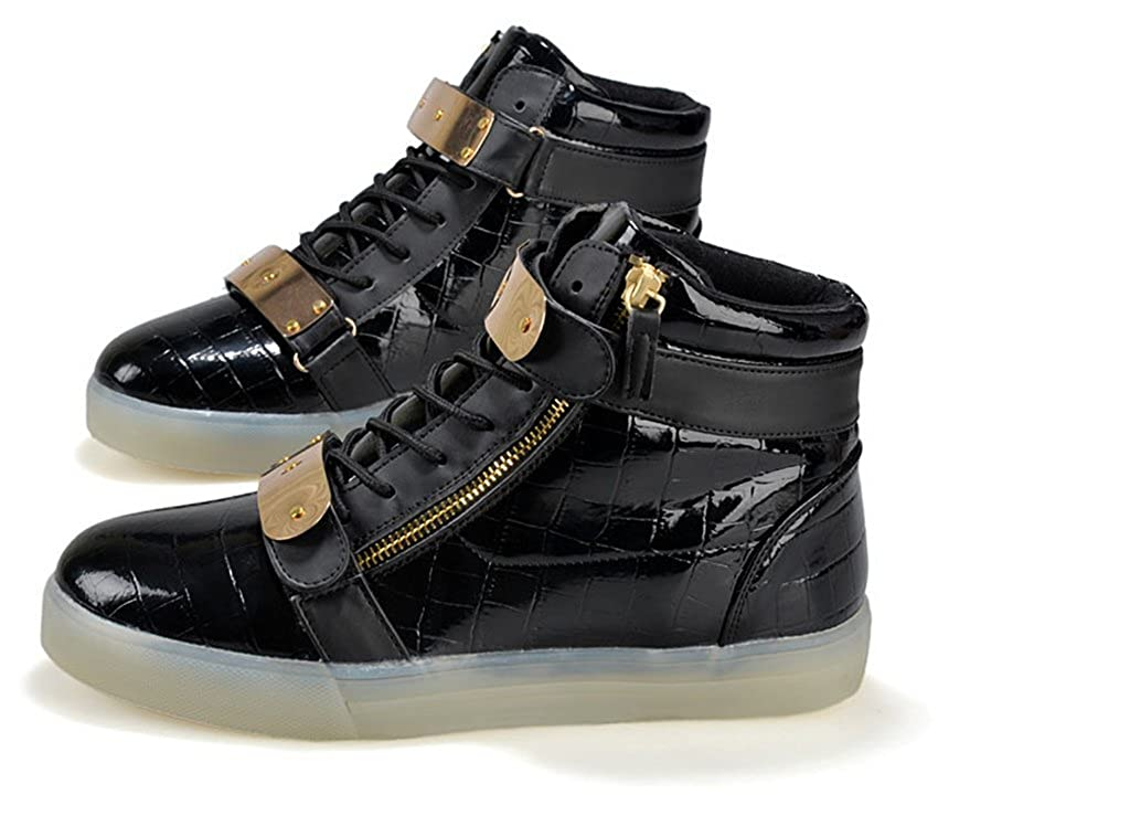 Toddler//Little Kid//Big Kid XIN BARLEY Boy Girl LED Light Up Shoes Street Style Gold Tone Zip Sneakers black33