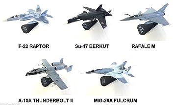 Générique Set of 5 War Planes 1:100 F-22 BERKUT RAFALE THUNDERBOLT