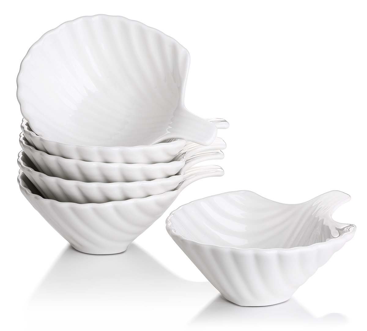 Lifver 6-Pack Bowl Sets/Ramekins, Lovely Shell-shape Porcelain Dip Bowls, White