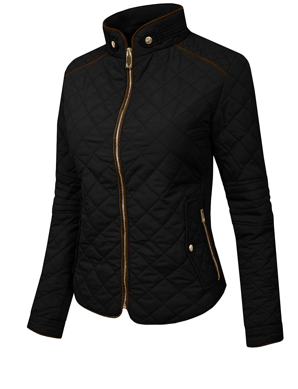a708a7e1d23 J.LOVNY Womens Lightweight Quilted Warm Zip Jacket Vest with Pockets S-3XL  at Amazon Women s Coats Shop