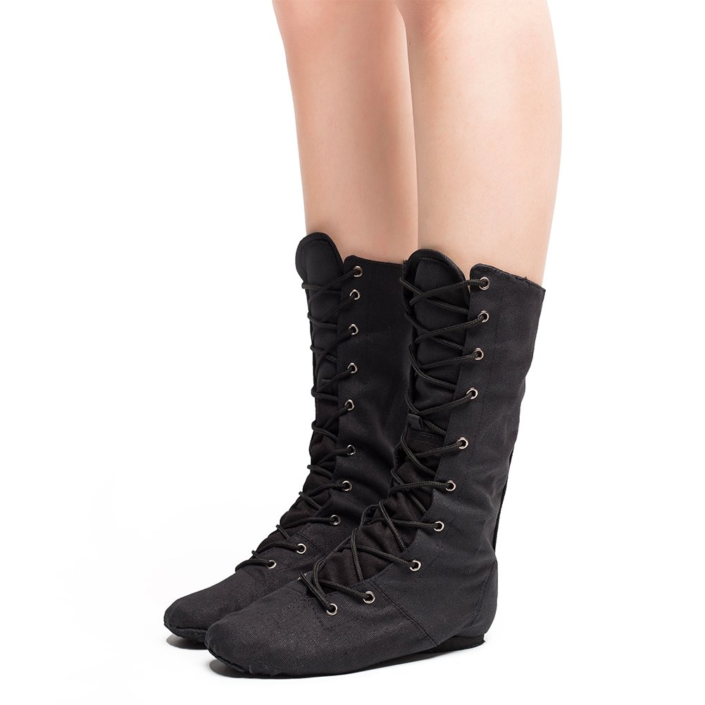 Women's Canvas Cosplay Dance Boots Black,10 M US