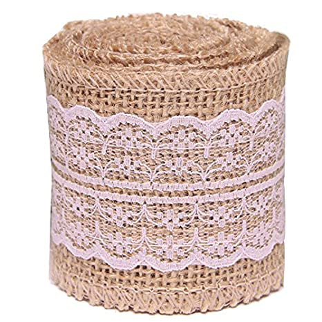 2 Roll Natural Burlap Lace Roll Ribbon DIY Crafts Scrapbooking Tools Wedding Birthday Decoration White Lace Gosear