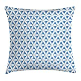 Queen Area Abstract Flower of Life Traditional Alchemy Disc Cosmos Meditation Ethnic Pattern Square Throw Pillow Covers Cushion Case for Sofa Bedroom Car 18x18 Inch, Light Blue White