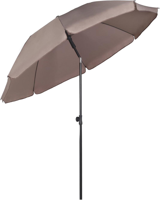 Sekey® Sombrilla Ø 200 cm Parasol para terraza jardín Playa balcón Piscina Patio, Color Taupe/Arena, Protector Solar UV25+