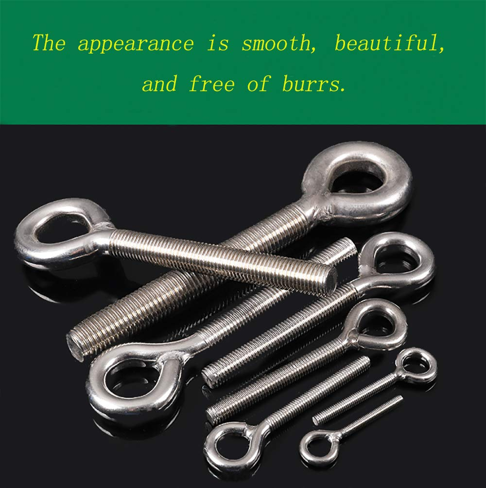 M4 304 Stainless Steel Ring Screw Hook Bolt High Hardness Steel Hook Bolt Hanging Item Screw Hook 10PCS