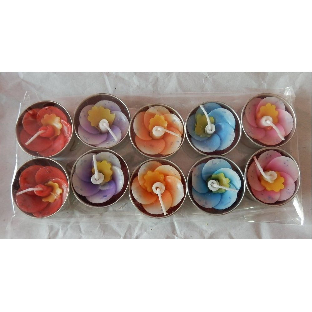 Asia SPA - 10 Aromatherapy Relaxing Tealight Candle Signature Flower Gift Souvenir (Flower & Color Random)