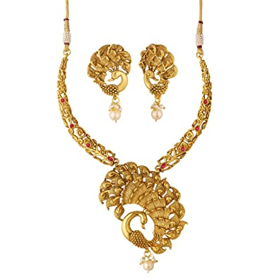 c2d11af97 Buy Apara Dancing Peacock Necklace Set with Ruby and Pearl Drop for Women/ Girls Online at Low Prices in India | Amazon Jewellery Store - Amazon.in