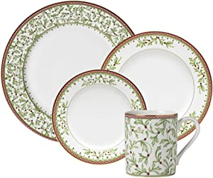 Mikasa Holiday Traditions Dinnerware Set with Mugs, 16 Piece, Green, White