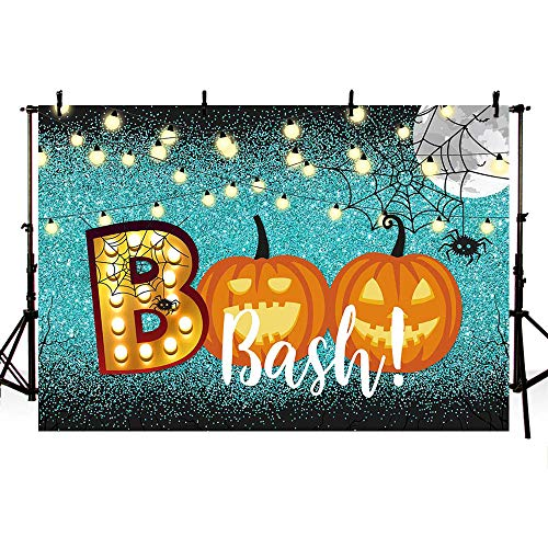 X Halloween Bash (MEHOFOTO Halloween Boo Party Decoration Photo Studio Booth Background Props Glitter Lights Pumpkin Boo Bash Banner Boos and Booze Costume Party Shiny Blue Backdrops for Photography)