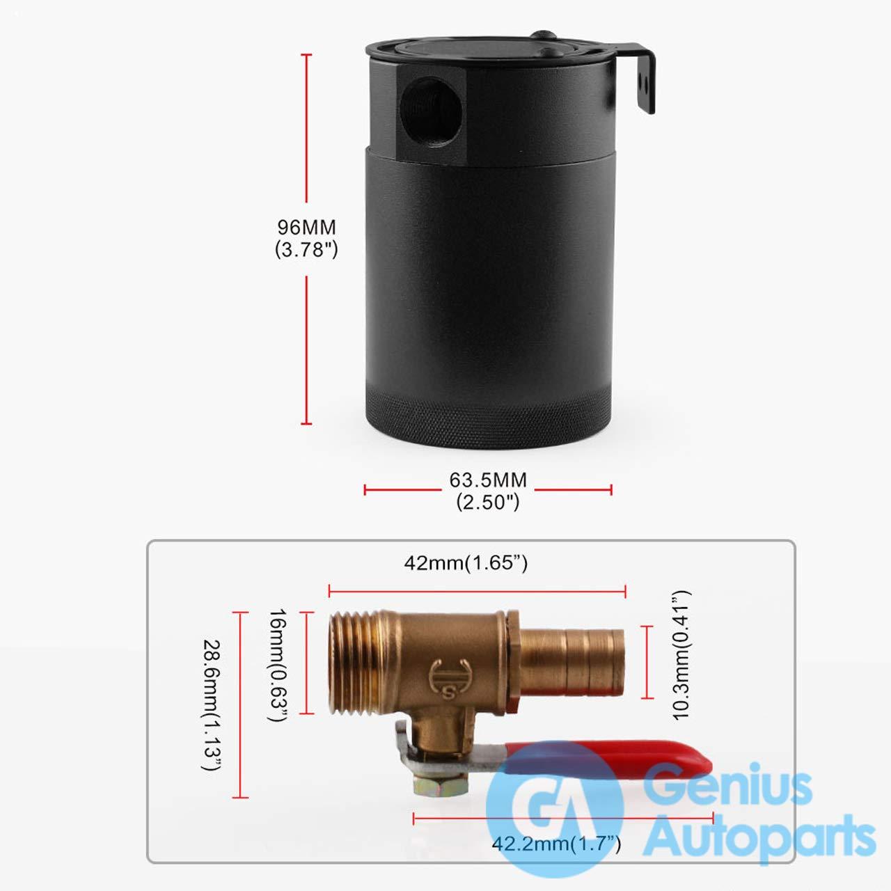 2-Hole OCC034//OCC039 Blue Genius Autoparts Baffled Oil Catch Can Aluminum Alloy