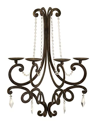 """Crystal Chandelier Candle Holder: French Style Chandelier Wall Sconce Candle Holder with Crystal Details  26"""",Lighting"""